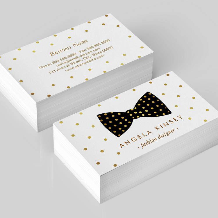 Cute Gold Polka Dots Ribbon Bow Business Card Template Custom