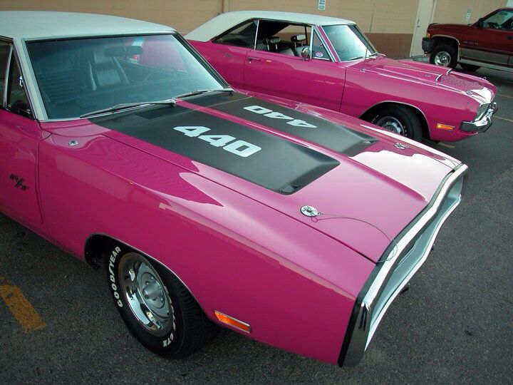 70 Charger And 70 Dart In Panther Pink With Images Muscle Cars