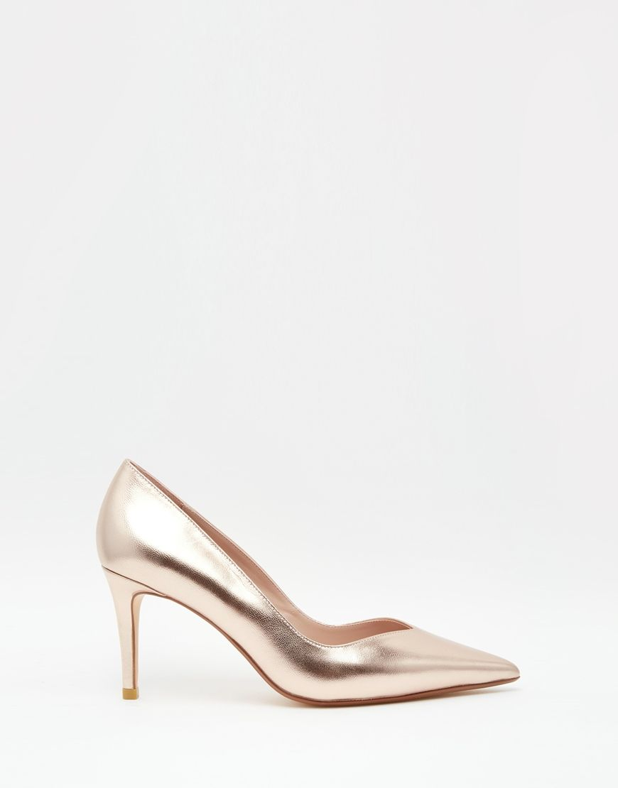 Shop Dune Alessia Rose Gold Sweetheart Heeled Pumps at ASOS.