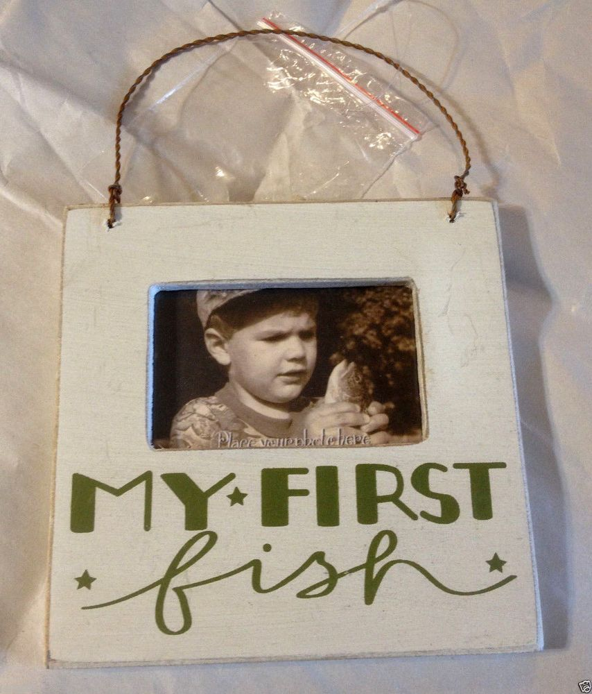 Primitives By Kathy Small Wood Photo Frame My First Fish Holds One
