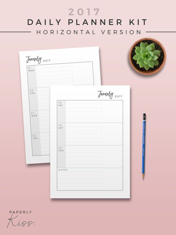 Daily Planner Horizontal  Printable Planner Inserts