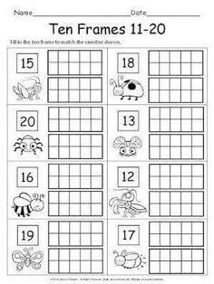 Free Printable Easter Egg Ten Frame Worksheets Numbers 1