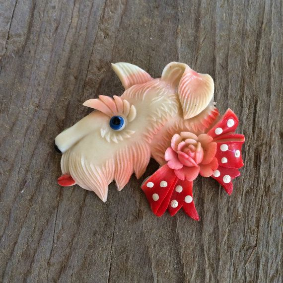 Vintage Celluloid Scottie Dog Pin Plastic Brooch by veraviola