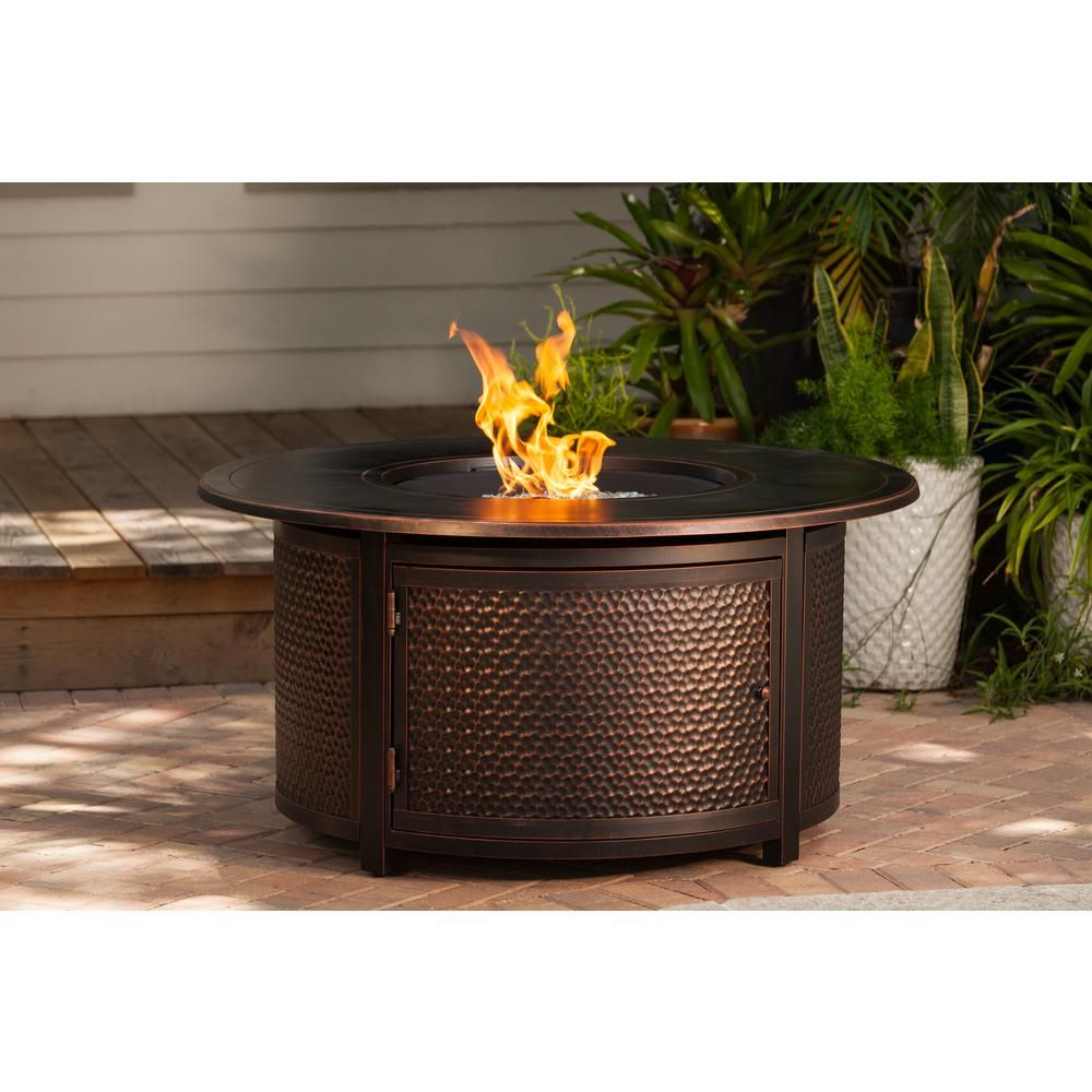 Fire Sense Leeward 44 In X 24 In Round Aluminum Propane Fire Pit Table In Antique Bronze With Vinyl Cover 62353 The Home Depot Propane Fire Pit Table Propane Fire Pit Fire Pit Table