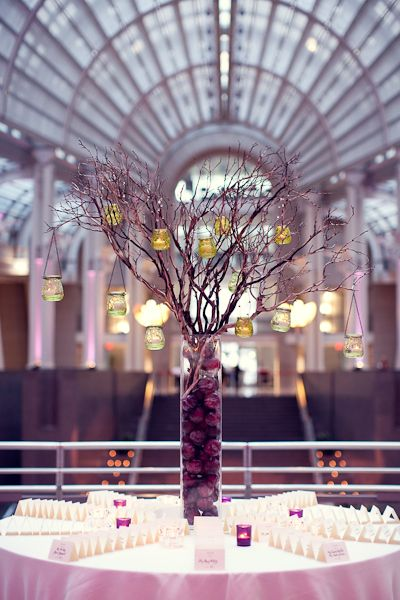 Purple White Modern Washington Dc Wedding Reception Centerpiece
