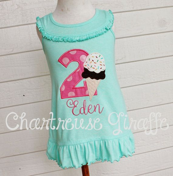 1d2a20a1e557 Ice Cream Cone Summer Birthday Sleeveless Mint by JennsCGBoutique ...