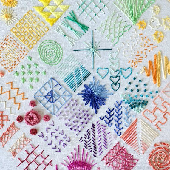 Beginners Embroidery SAMPLER PATTERN ONLY - Embroidery Pattern - Downloadable - Digital #embroiderypatternsbeginner