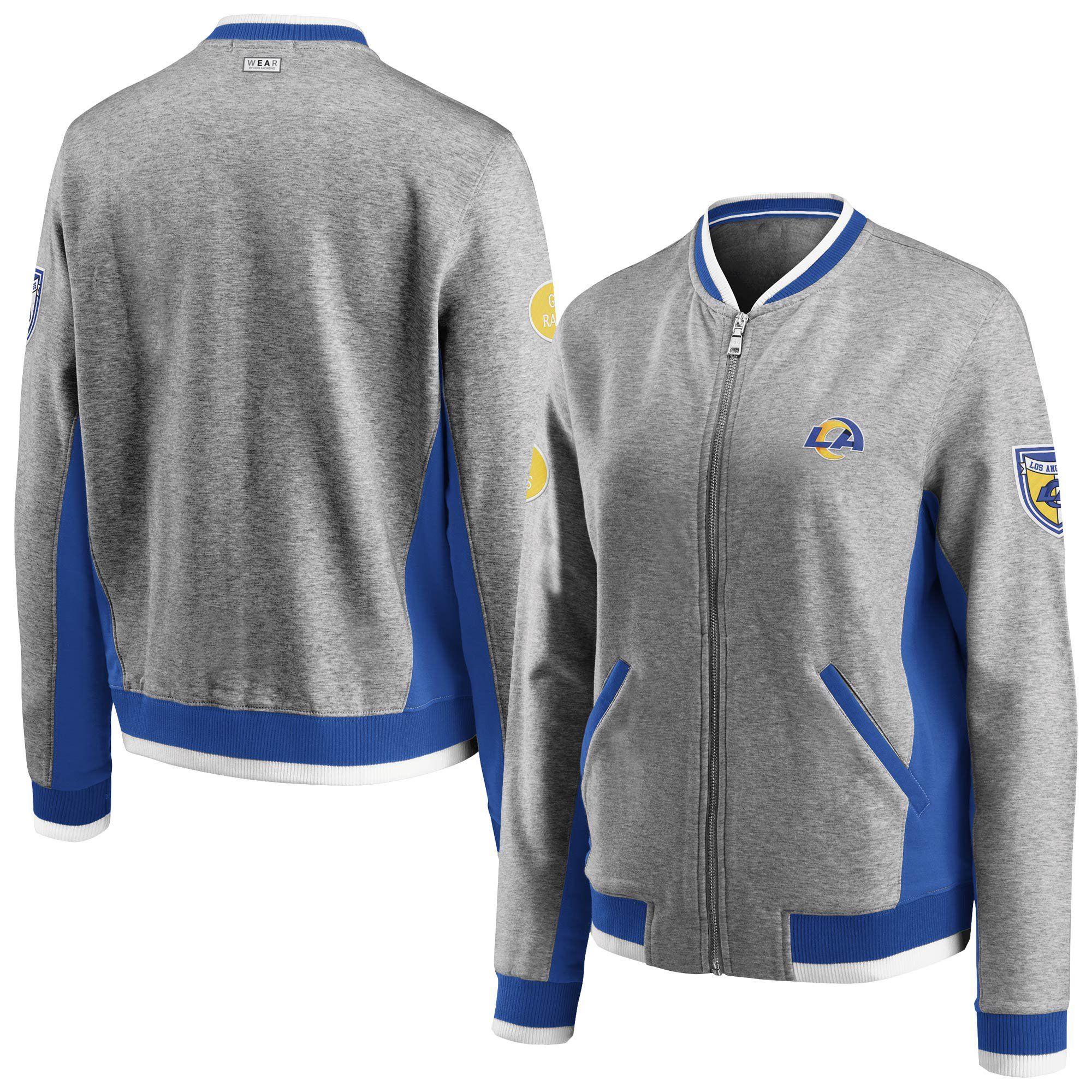 Los Angeles Rams Wear By Erin Andrews Women S Varsity Full Zip Jacket Heathered Gray Walmart Com Walmart Com Zip Jackets Quarter Zip Jacket How To Wear