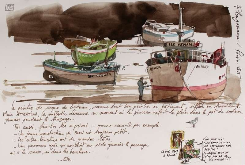 """Plouguerneau is a commune in the Finistère département of Brittany in northwestern France.  // sketch made by Yann Lesacher (watercolourist, portraitist, painter, caricaturist and bon vivant) // The project """"A Britain by the Contours"""" is underway and will be completed when he will have paced the GR34 in full (approximately 2500 km ..). Yann has already completed more than 1,000 pages from regular walks and in all seasons."""