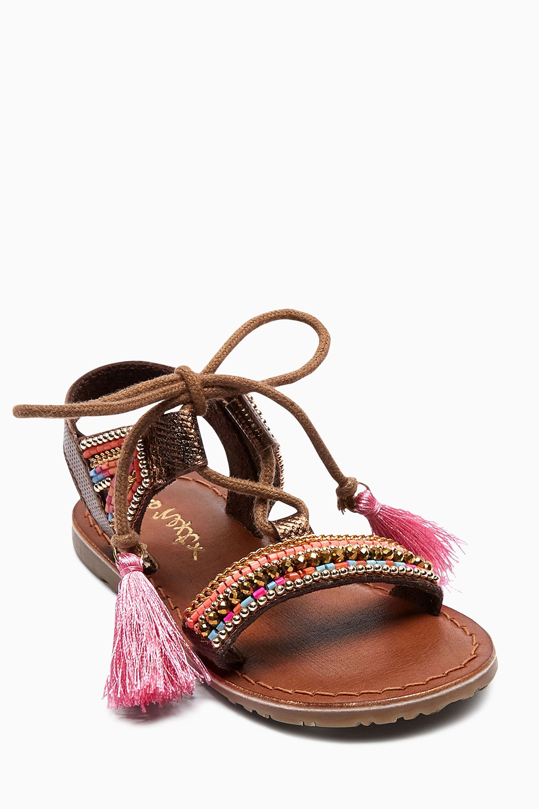 Buy Tan Embellished Leather Sandals (Younger Girls) from