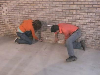 protect brickwork with plastic wrap