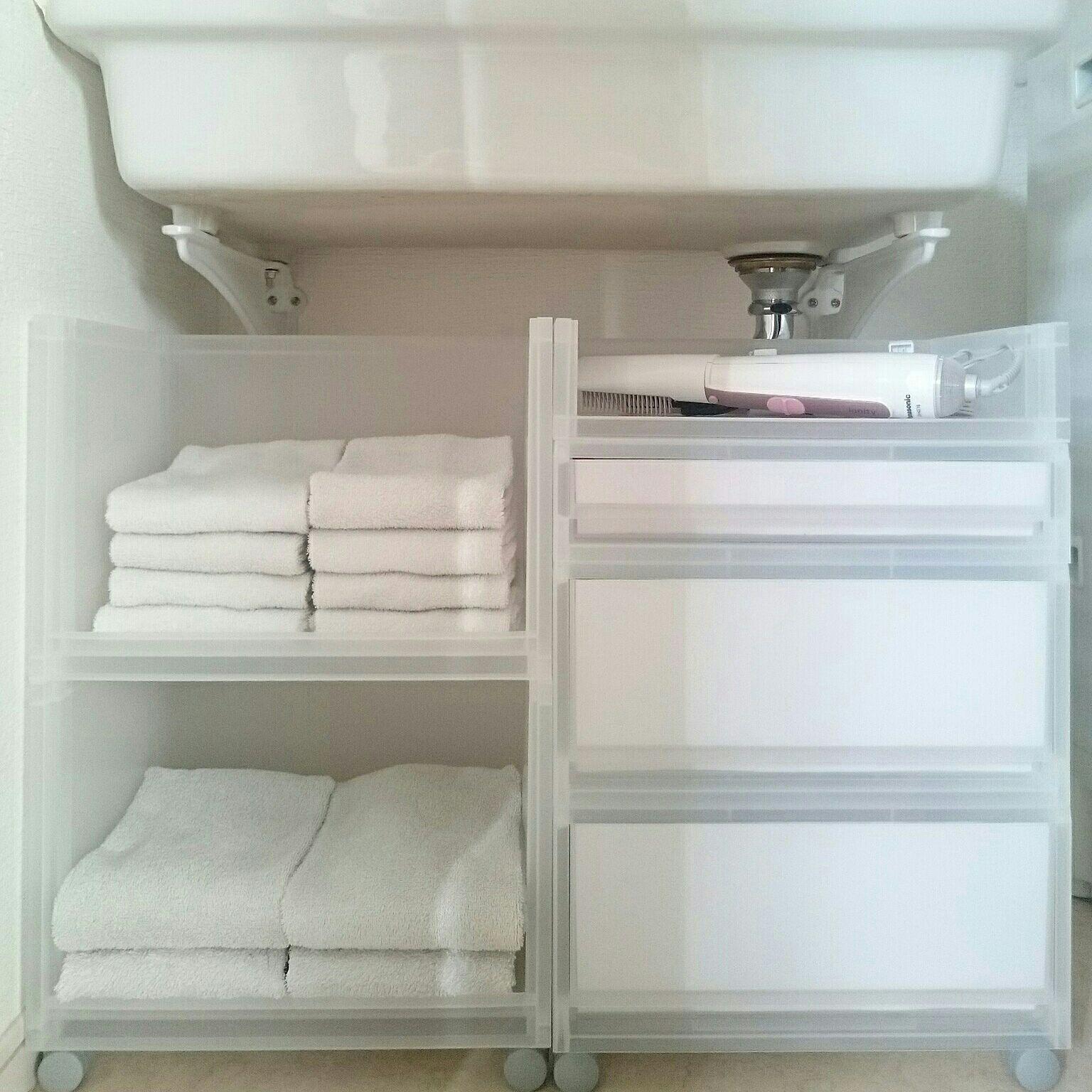 タオル収納 洗面所 収納 無印良品 隠す収納 ブログやってます こどもと暮らす。 などのインテリア実例 2016