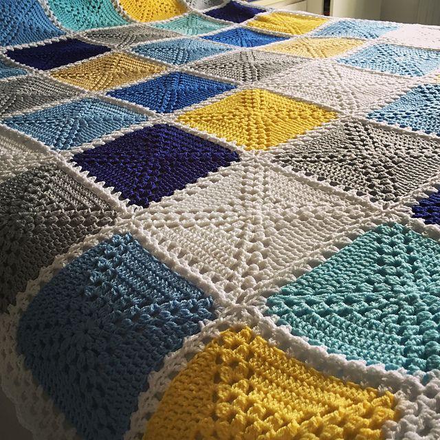 Caitlin\'s Seaside Patchwork Crochet Blanket Free crochet pattern ...