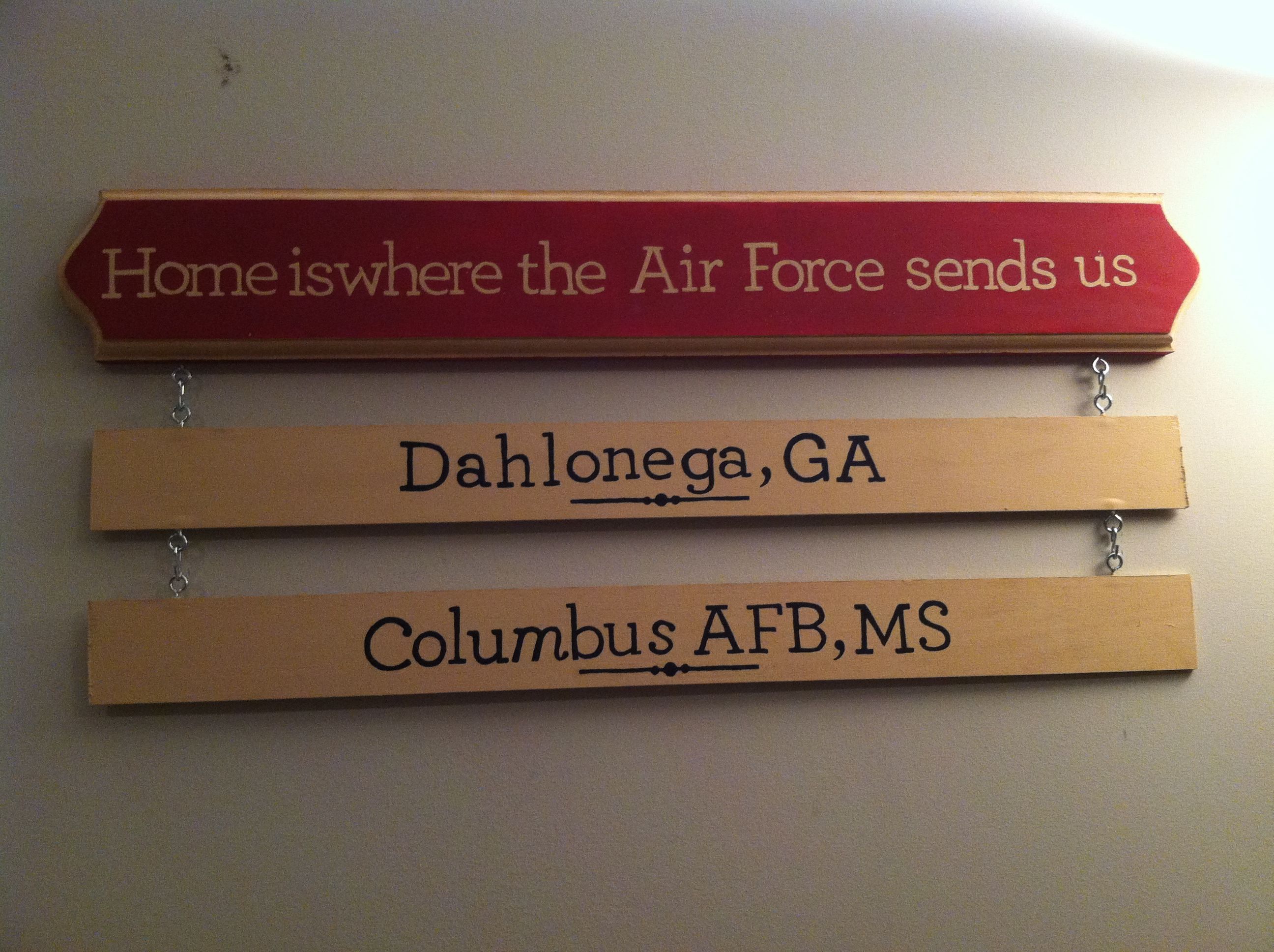 Easy to Make Air Force sign with stencils, paint, and wood