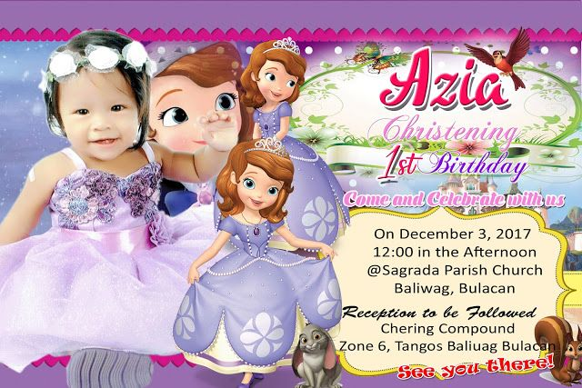 Sofia The First Sample Invitation Design Template For First Birthday