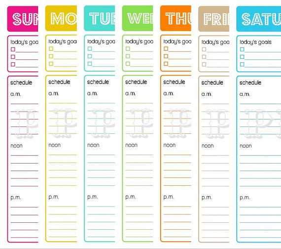 Printable Daily Planner To Do List Goals Schedule  Days Weeks