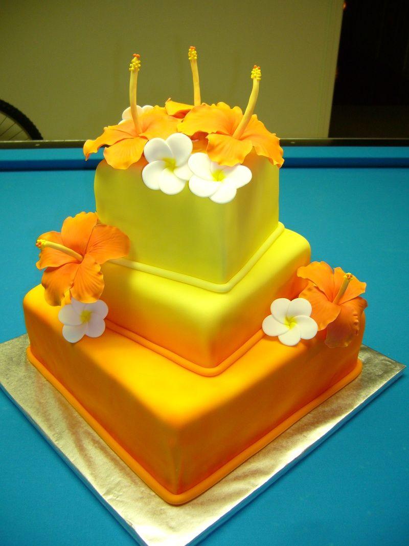 tropical wedding cakes | Hawaiian Wedding Aloha Flower Circle ...