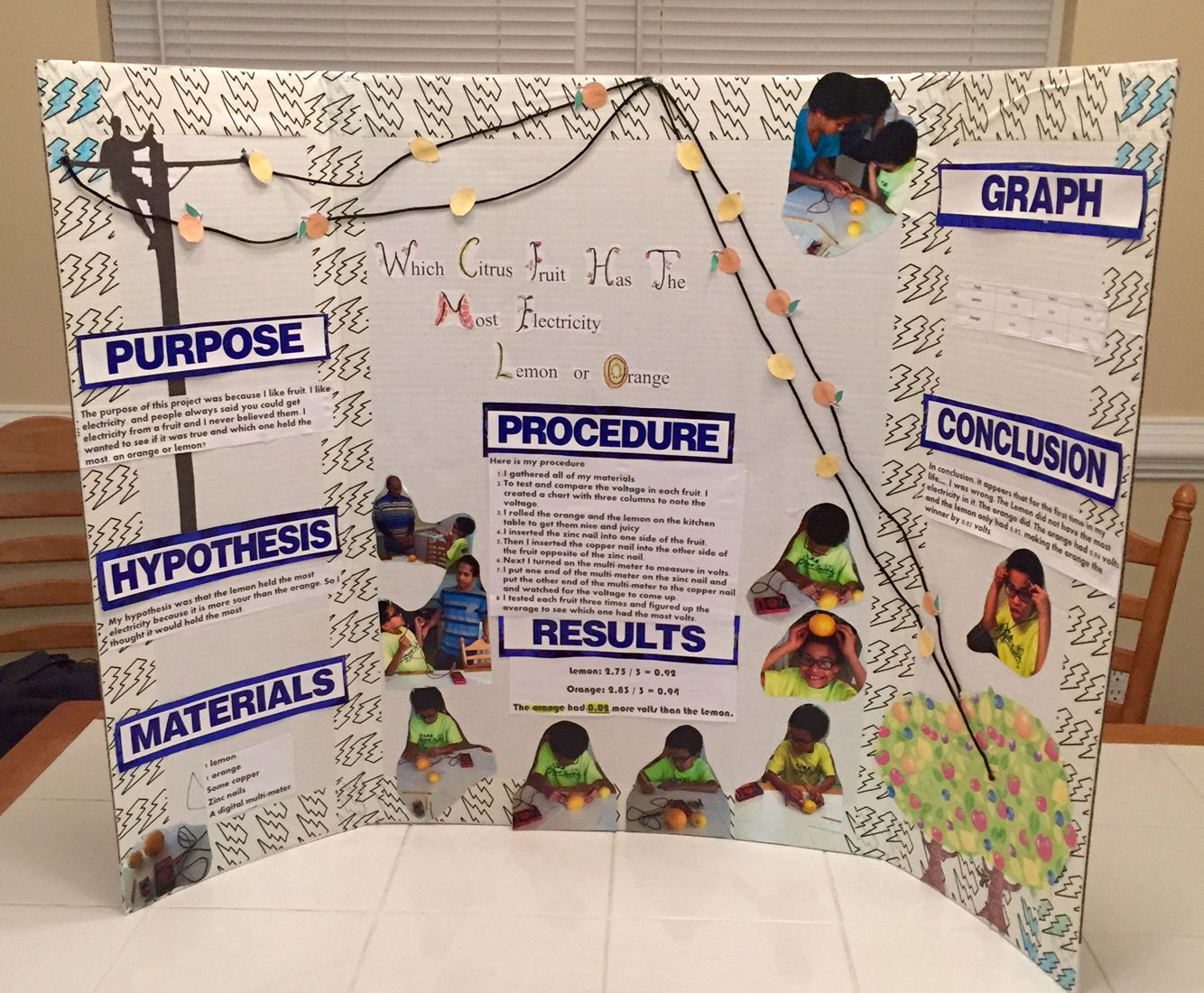 David S Science Fair Project Backboard Which Citrus Fruit Has The Most Electricity An Orange Science Fair Projects Boards Science Fair Projects Science Fair