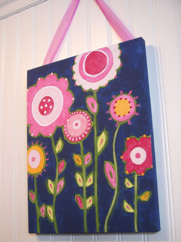 flower garden canvas painting 11 x 14 original handmade girl room decor pink navy preppy baby. Black Bedroom Furniture Sets. Home Design Ideas