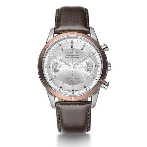 9753e861538 Relógio Vivara Masculino Couro Marrom - DS11657C