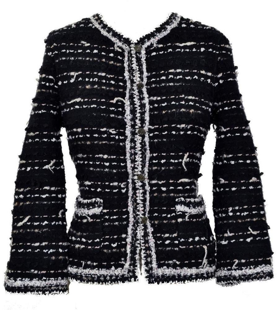 RARE Chanel 05A Little Black Jacket Coat Sweater Cardigan NEW 40 ...