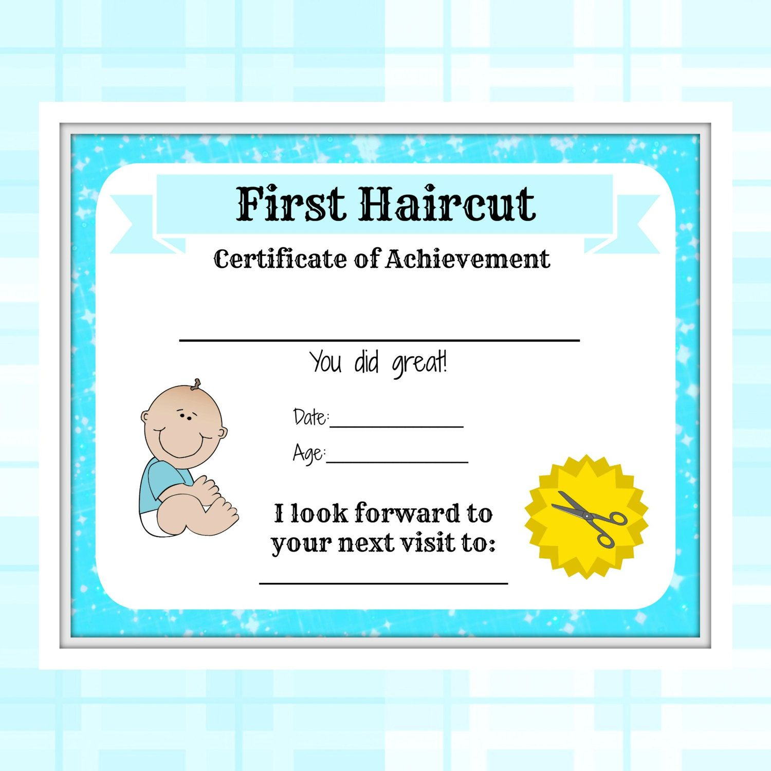 Boys first haircut certificate baby first haircut photo boys first haircut certificate baby first haircut photo certificate baby milestone keepsake letter xflitez Gallery