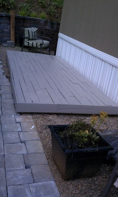 Pallet deck outside pinterest pallets decking and for Garden decking from pallets