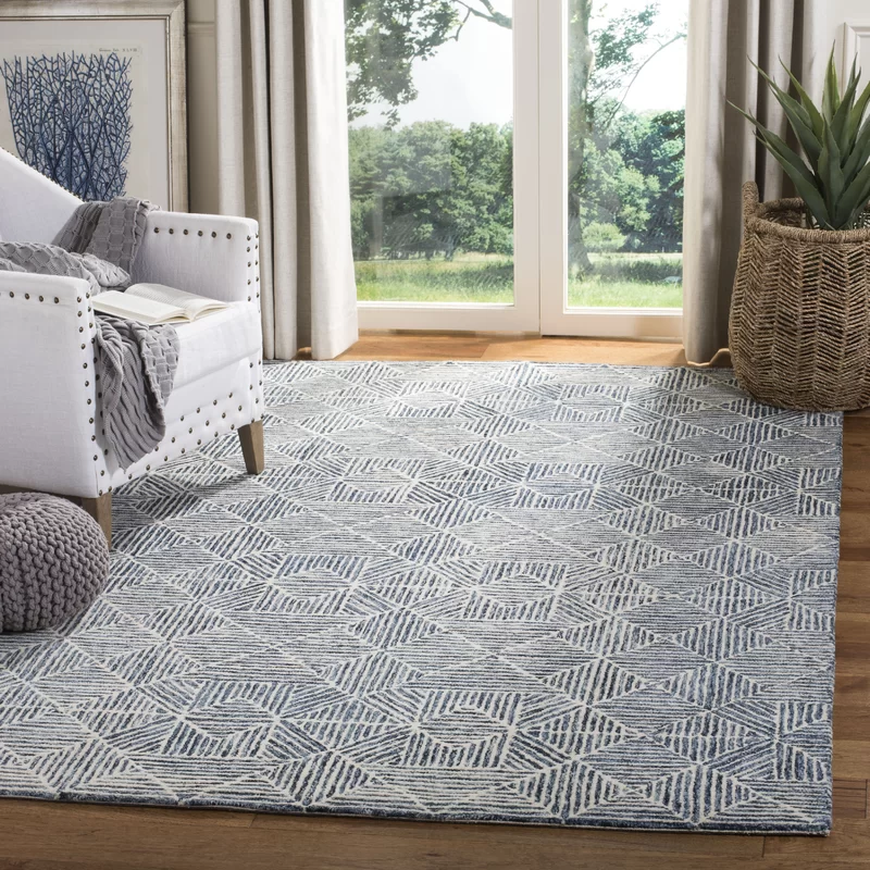 Gaither Geometric Handmade Tufted Wool Light Blue Gray Area Rug In 2020 Blue Gray Area Rug Rugs In Living Room Grey Area Rug