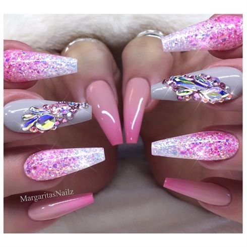 Pink Ombré Coffin Nails by MargaritasNailz