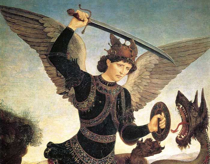 Antonio and Piero del Pollaiuolo, St Michael and the Dragon (detail), Florence, Museo Bardini