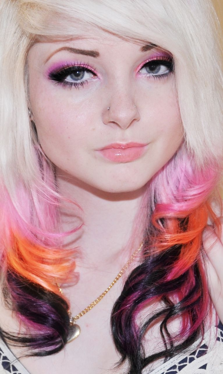 Blonde Pink Orange And Black Hair