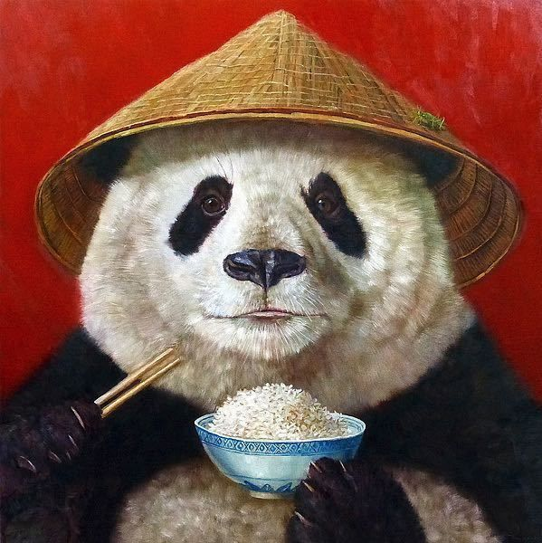 "Lucia Heffernan ""Panda"" Archival Lithograph on Paper  19"" x 19"""