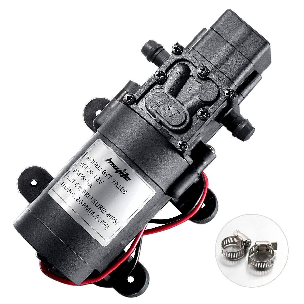 Bayite 12v Dc Fresh Water Pump With 2 Hose Clamps 12 Volt Diaphragm Pump Self Priming Sprayer Pump With Pressure Switch 4 5 L Mi In 2020 Diaphragm Pump Water Pumps Van
