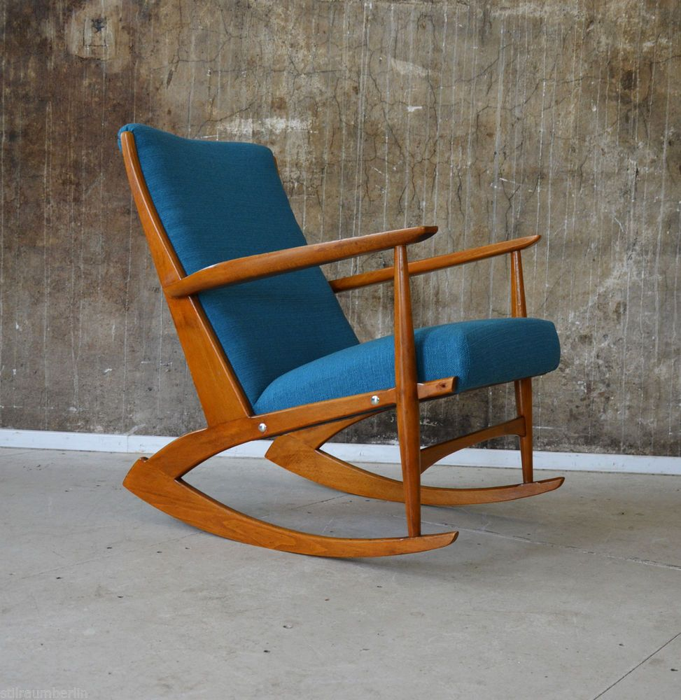 60er Søren Georg JENSEN Schaukelstuhl Sessel DANISH DESIGN 60s Rocking  Chair 50s Idea