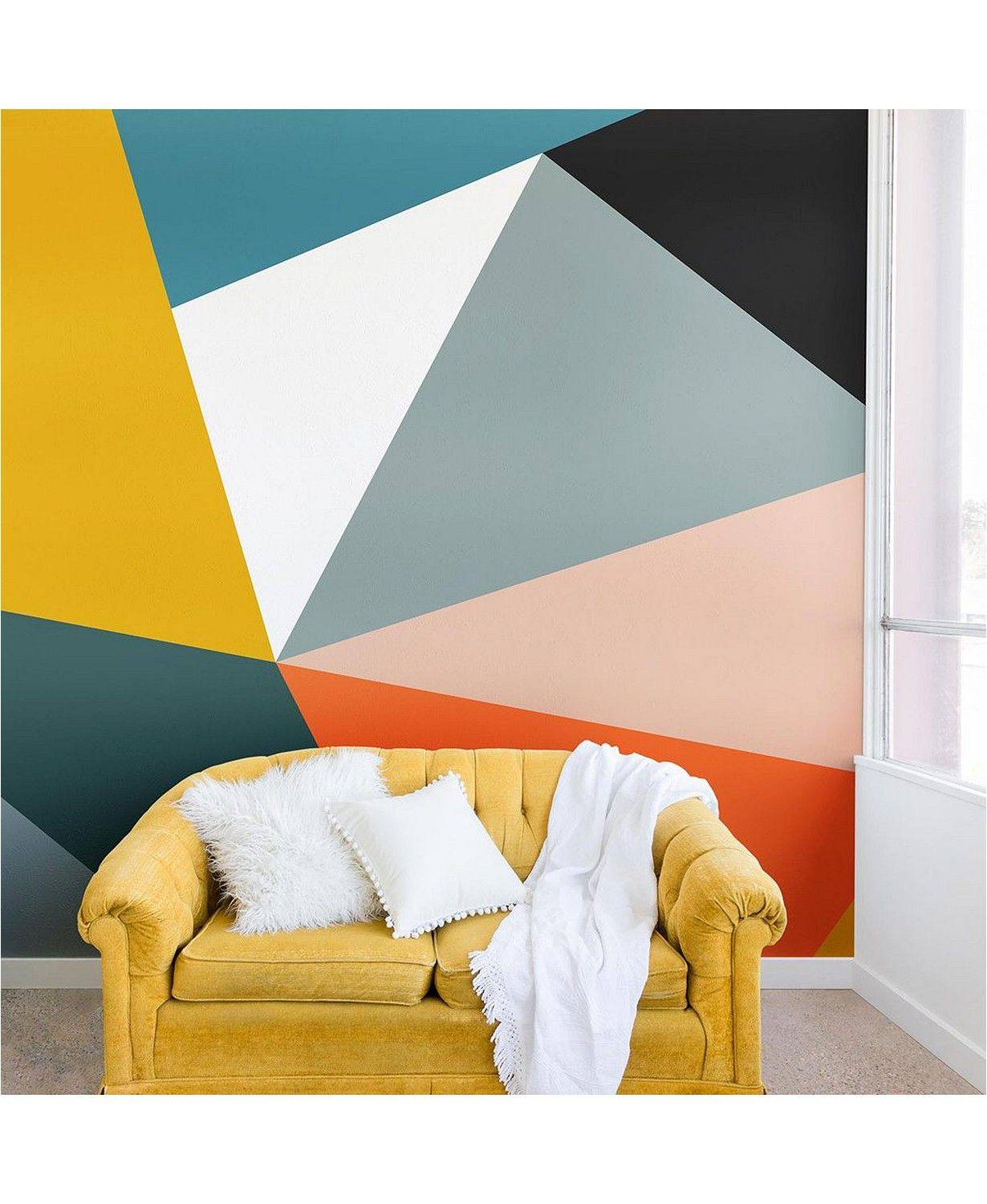 Deny Designs The Old Art Studio Modern Geometric No 33 8 X8 Wall Mural Reviews Wallpaper Home Decor Macy S In 2020 Geometric Wall Paint Wall Murals Creative Walls