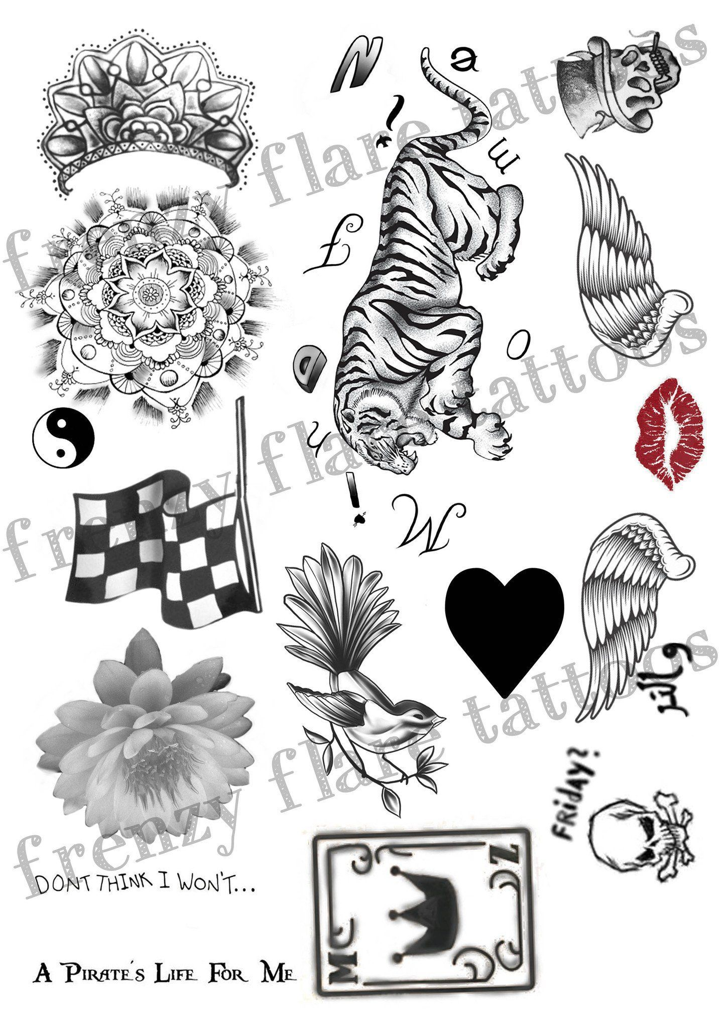 Zayn Malik Inspired Temporary Tattoos 2017 Complete Set 2 Full Pages With Real Size Tattoos Up To Date Perfect For Music Costume Party Zayn Malik Tattoos Zayn Malik Drawing Polynesian Tattoo