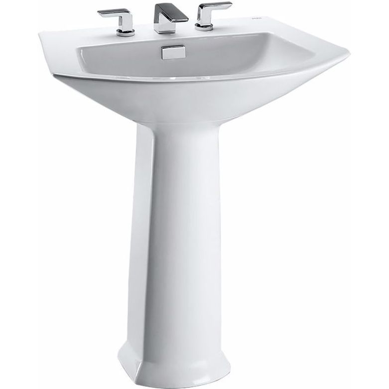 Toto LPT962.8-01 Soiree Cotton White Pedestals Single Bowl Bathroom ...