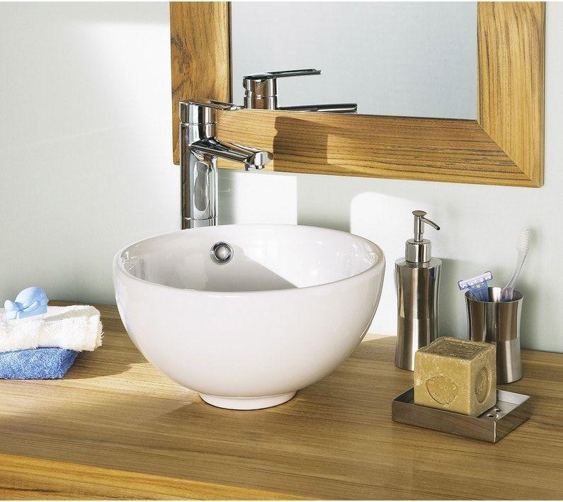 Vasque A Poser Ceramique Diam 31 Cm Blanc Tibet Leroy Merlin En 2020 Accessoires Salle De Bain Vasque A Poser Vasque