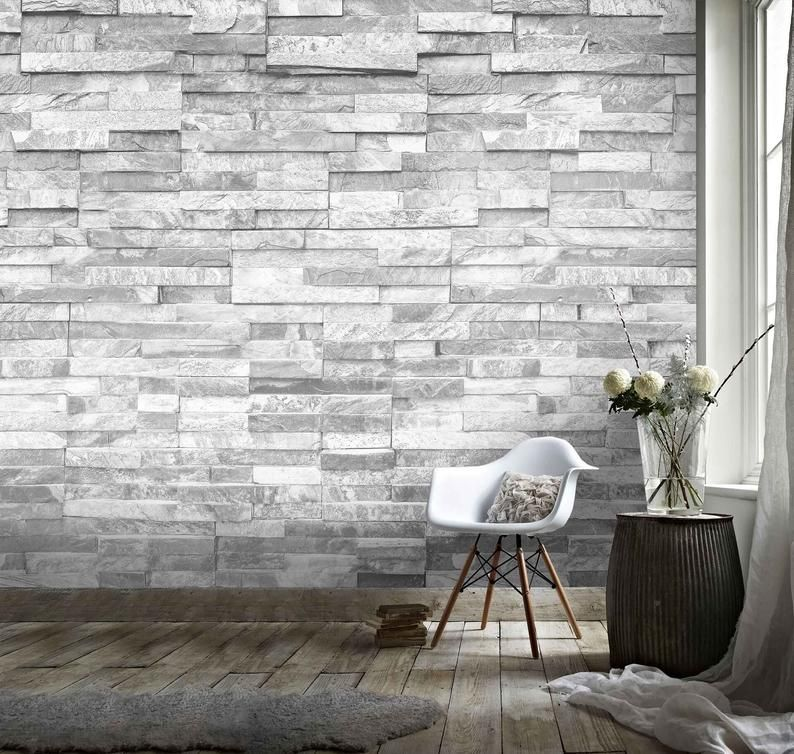 3d Stone Material Wallpaper Removable Self Adhesive Etsy In 2021 Stone Accent Walls Grey Stone Wallpaper Faux Stone Wallpaper