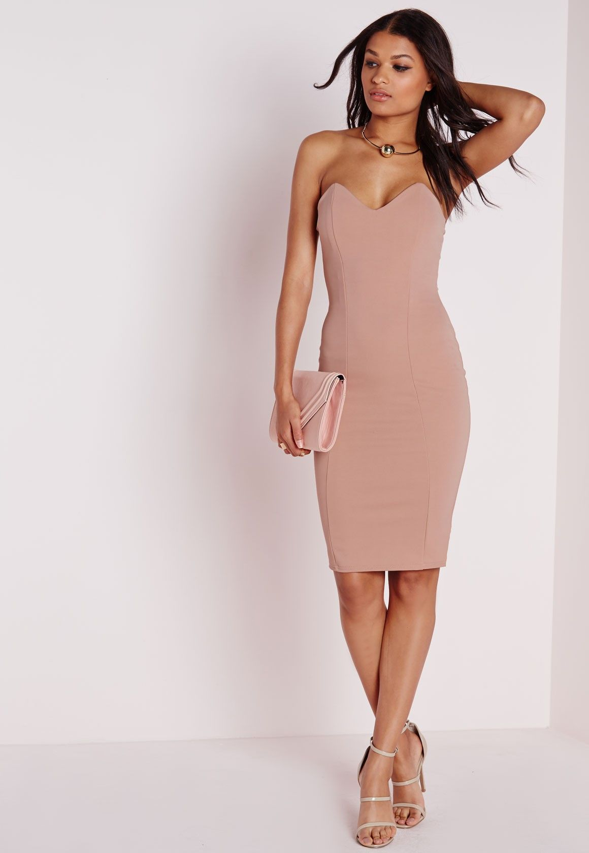 Missguided Bandeau Bodycon Midi Dress Taupe Midi Dress Bodycon Bodycon Dress Parties Dresses [ 1680 x 1160 Pixel ]