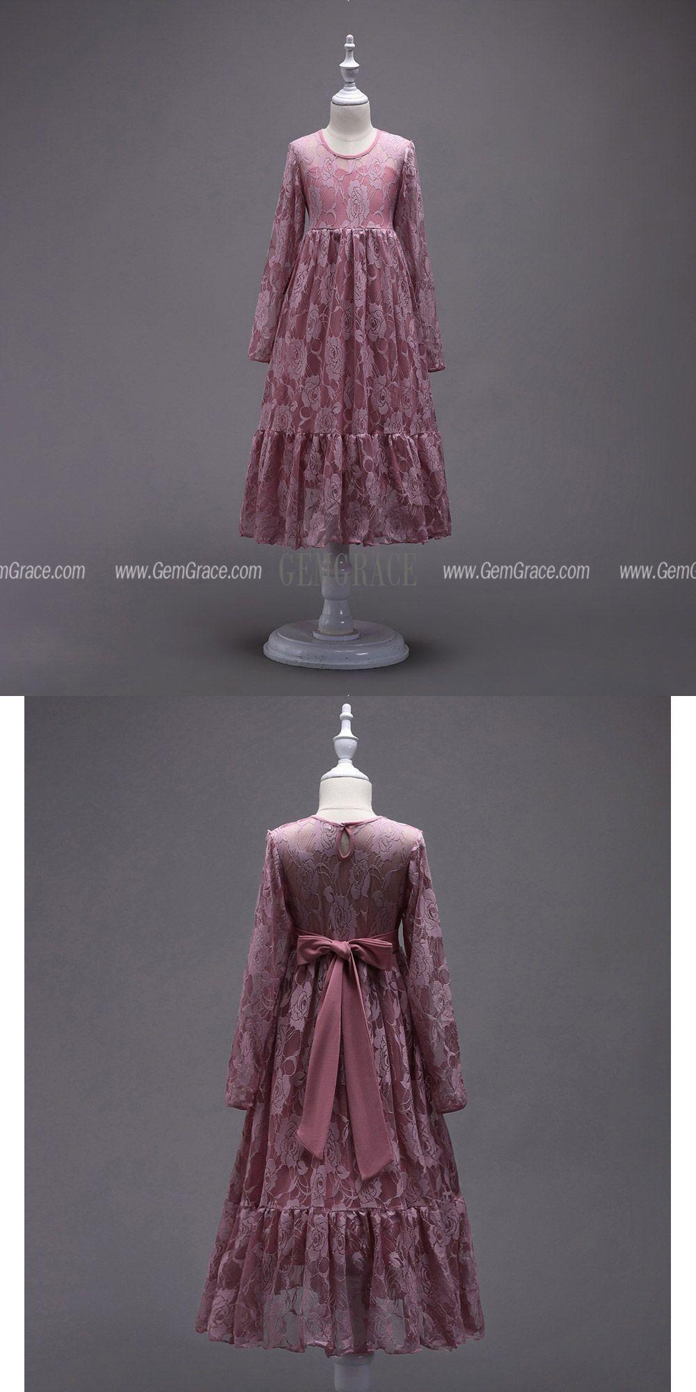 Burgundy Lace Long Sleeve Flower Girl Dress For Winter
