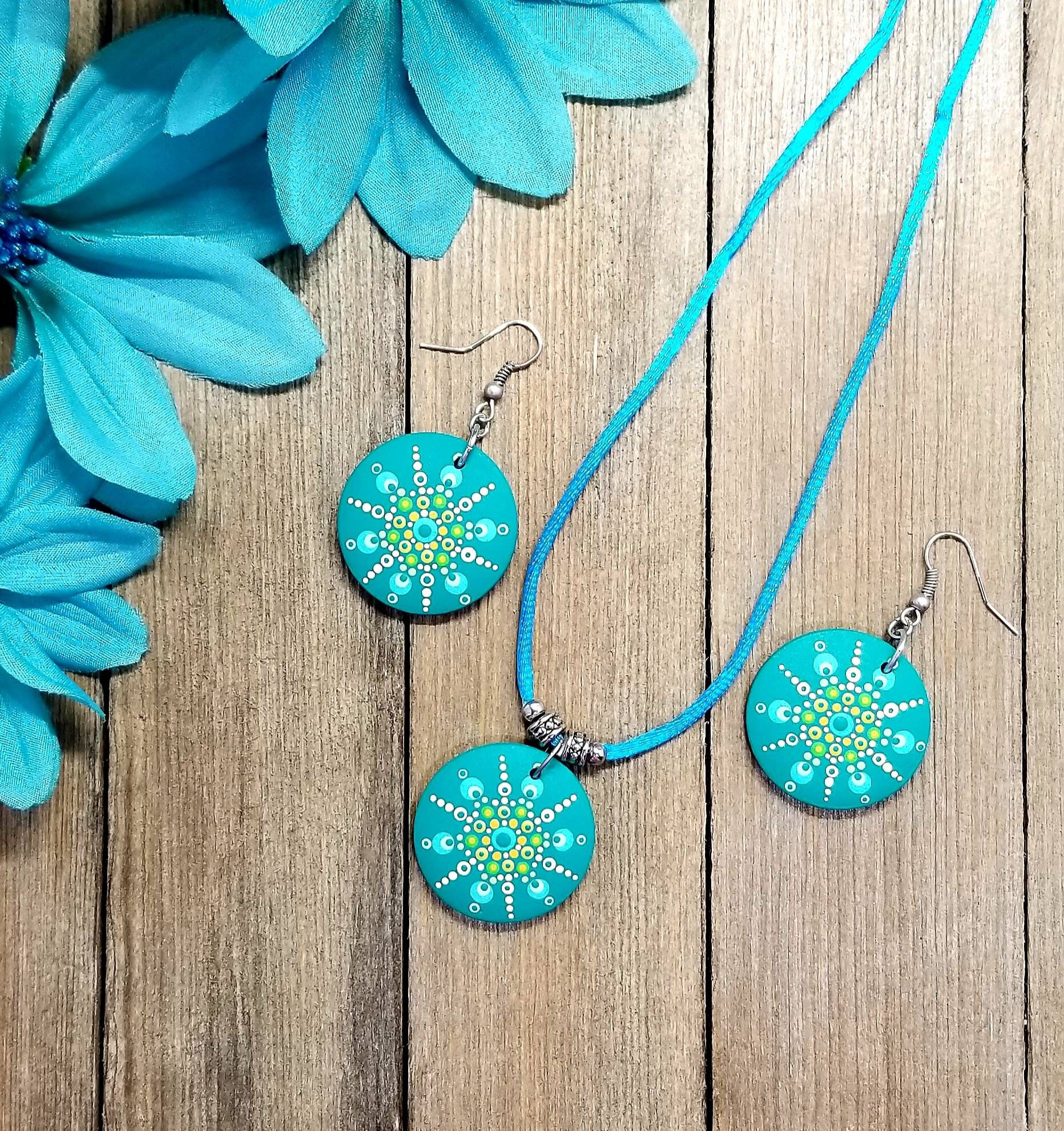 Necklace Earring Set Hand Painted Mandala Dots Teal Blue Etsy Mandala Jewelry Polymer Clay Jewelry Tutorials Jewelry Making Patterns