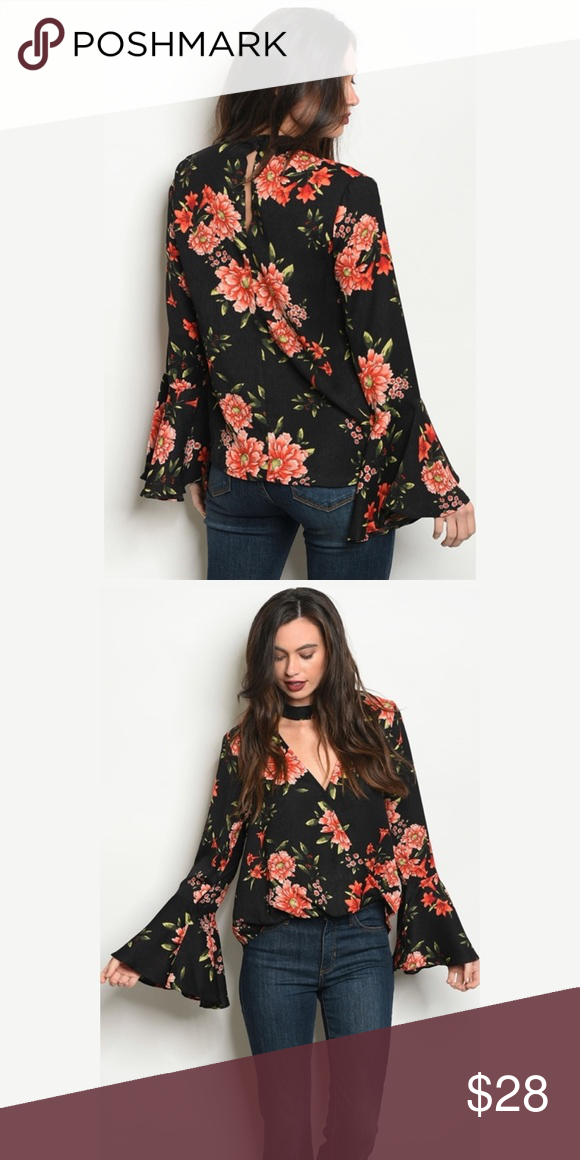 acbf7a51b55 Black Floral Bell Sleeve Choker Neck Top!! (Poly) NWT (Poly) No Stretch  Absolutely Gorgeous the room Tops Blouses