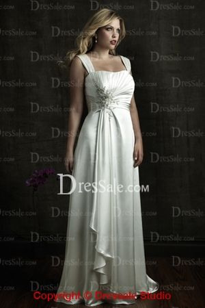 High Quality New Hot Selling Square Neckline Wedding Dress with Beaded Applique