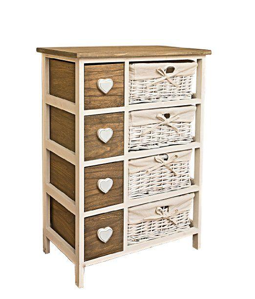 rebecca srl cassettiera mobile bagno 8 cassetti cuore paris legno scuro vimini bianco vintage shabby chic