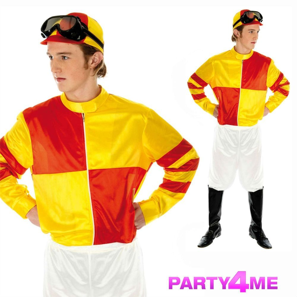 Jockey Silks Fancy Dress Dressing Up Outfit Horse Racing Costume Adult Male NEW