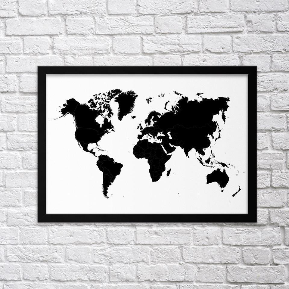 Black u white world map northshire metal wall art metal wall