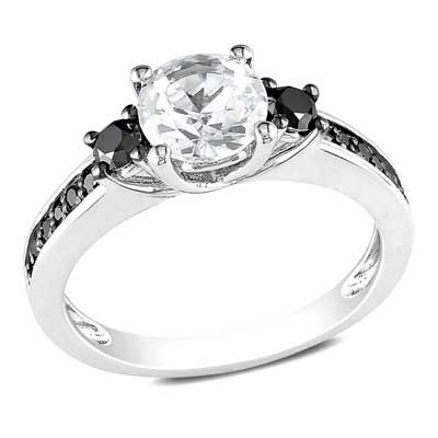 Zales 6.5mm Lab-Created White Sapphire and 1/3 CT. T.w. Enhanced Black Diamond Ring in Sterling Silver jqKhH5nY