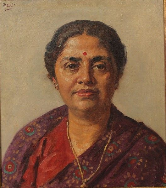 Alfred Egerton Cooper (1883-1974) British. Portrait of an Indian Lady, Oil on Canvas, Signed wit