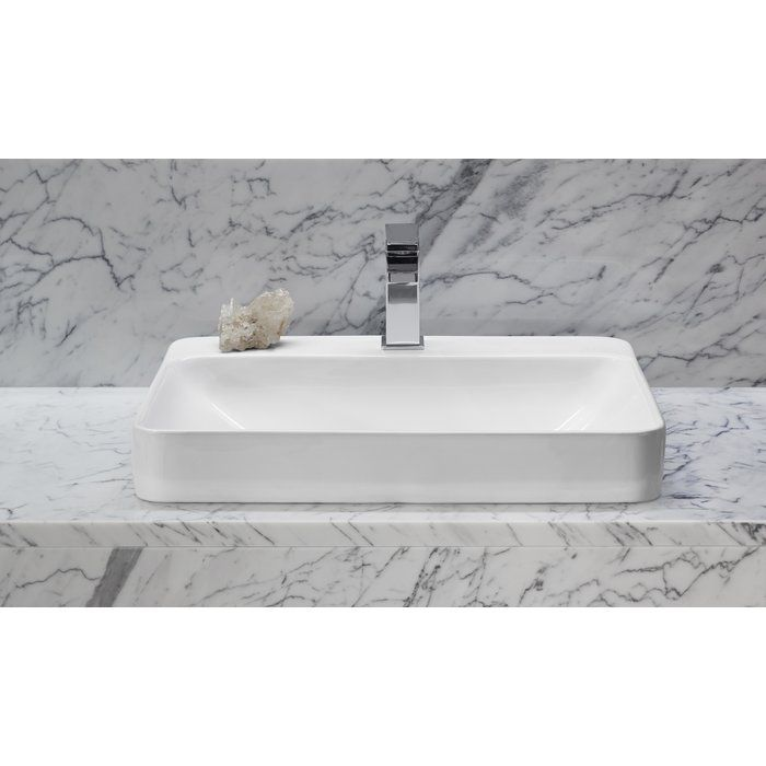 Vox Vitreous China Rectangular Vessel Bathroom Sink With